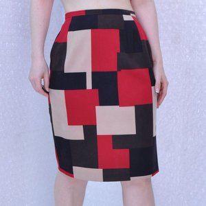 Harvé Benard color block pencil skirt